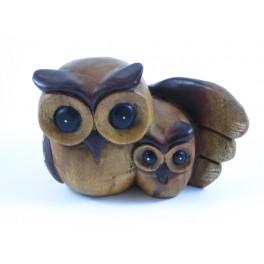 Chouette Sculpté en bois de suar 12x19