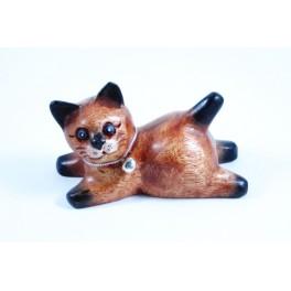 Petit chat sculpté en bois de Suar - N°44