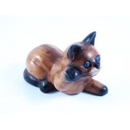 Petit chat sculpté en bois de Suar - N°45