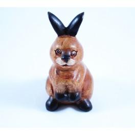 Lapin sculpté en bois de Suar 13x6