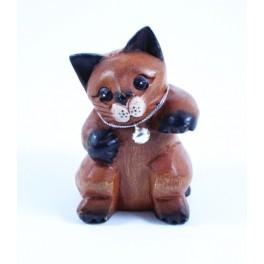 Petit chat sculpté en bois de Suar - N°46