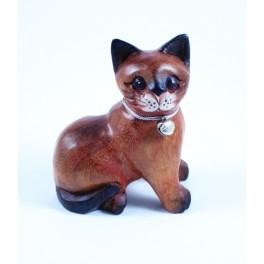 Petit chat sculpté en bois de Suar - N°47