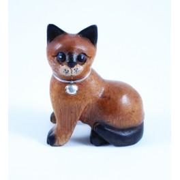 Petit chat sculpté en bois de Suar - N°48