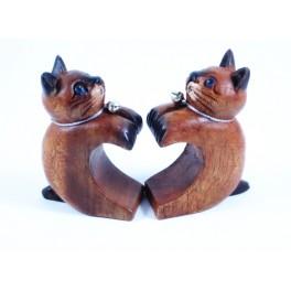 Paire de Petit chat en forme de coeur sculpté en bois de Suar