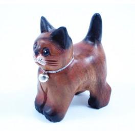 Petit chat sculpté en bois de Suar - N°49