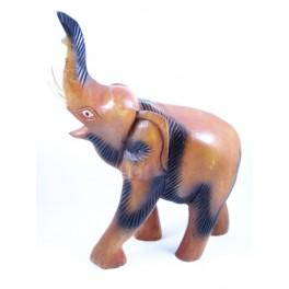 Eléphant sculpté en bois de Suar 41x29