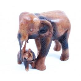 Eléphant et son petit  sculpté en bois de Suar