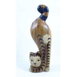 chat tigré tête en bas gauche sculpté en bois de Suar - 32x10
