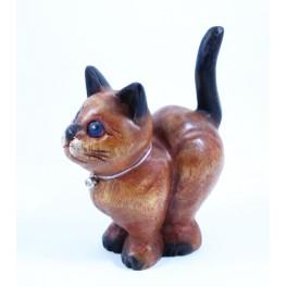 chat sculpté en bois de Suar - 19x15