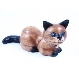 chat couché sculpté en bois de Suar - 12x23
