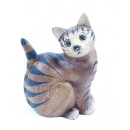 chat tigré assis sculpté en bois de Suar - 15x10