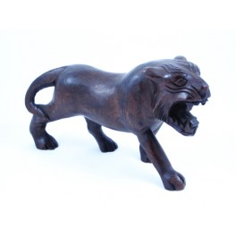 Tigre foncé sculpté en Teck - 15x26 - Droit