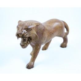 Tigre clair sculpté en Teck - 15x26 - Gauche