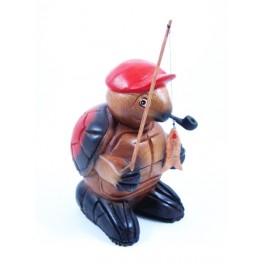Tortue pêcheur sculpté en bois de Suar - 18x11
