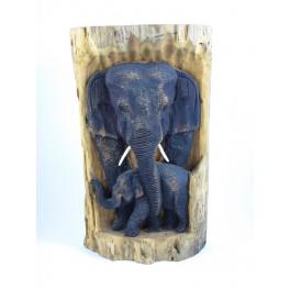 Eléphant et son petit sur Souche de Teck - 35 cm