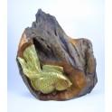 Poisson Japonais Doré sur Souche de Teck - 34 cm