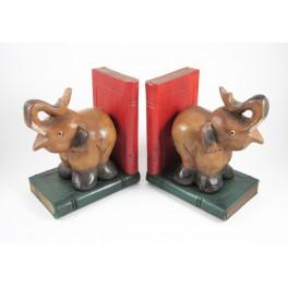 Serre-Livres Eléphant en bois de suar