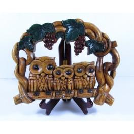 Porte-clés Chouette en bois de suar - 31x24cm