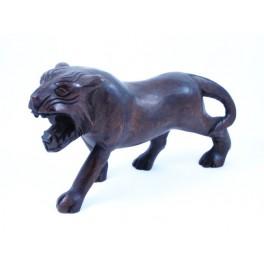 Tigre foncé sculpté en Teck - 15x26 - Gauche