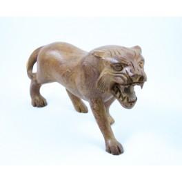 Tigre clair sculpté en Teck - 15x26 - Droit