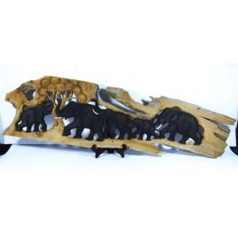 Fresque 5 Eléphants sur Souche de Teck - 110x30cm
