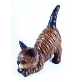 Chat joueur queue droite en bois de Suar - 21x23