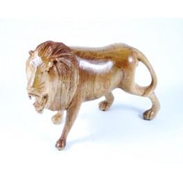 Lion clair sculpté en Teck - 13x17 - Gauche