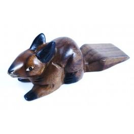 Cale porte Lapin sculpté en bois de Suar