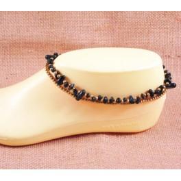 Bracelet de cheville avec perles de laiton et onyx - BR024