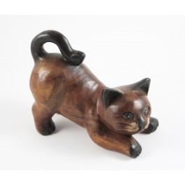 Chat joueur en bois de suar 13 X 17