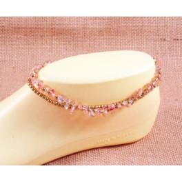 Bracelet de cheville avec perles de laiton et Quartz Fumé - BR025