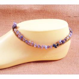 Bracelet de cheville avec perles de laiton et Amethyste  - BR026