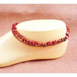 Bracelet de cheville avec perles de laiton et Pierre de Soleil - BR027