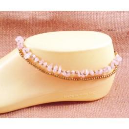 Bracelet de cheville avec perles de laiton et Quartz Rose- BR028