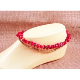 Bracelet de cheville avec perles de laiton et pierre de Corail - BR029