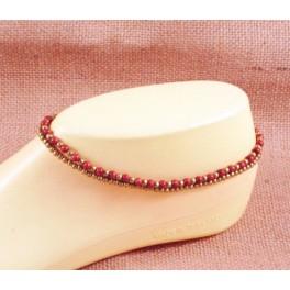 Bracelet de cheville en laiton et Pierre de Soleil - BR031