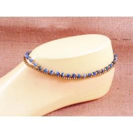 Bracelet de cheville en laiton et Lapis Lazuli - BR032