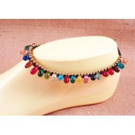 Bracelet de cheville en laiton et perles indiennes - BR034
