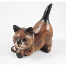 chat couché sculpté en bois de Suar - 15x12