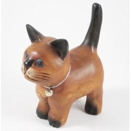 chat debout sculpté en bois de Suar - 15x13