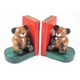 Serre-Livres Ourson en bois de suar