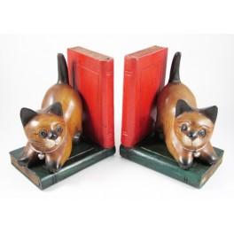 Serre-Livres Chat en bois de suar - CH095