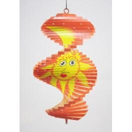 Spirale à vent en bois soleil et lune Orange - 20x12