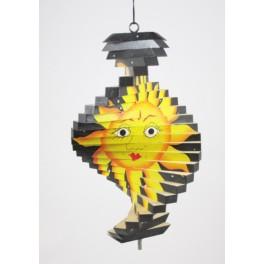 Spirale à vent en bois soleil et lune Noir - 20x12