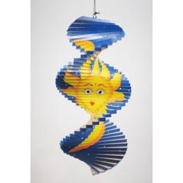 Spirale à vent en bois soleil et lune Bleu - 30x15