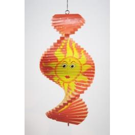 Spirale à vent en bois soleil et lune Orange - 30x15