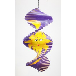 Spirale à vent en bois soleil et lune Violet - 30x15