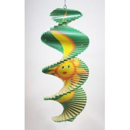 Spirale à vent en bois Soleil et Lune Vert - 40x16