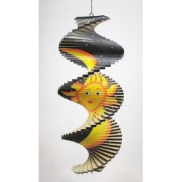 Spirale à vent en bois Soleil et Lune Noir - 40x16