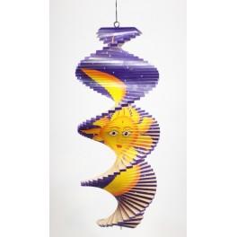 Spirale à vent en bois Soleil et Lune Violet - 40x16